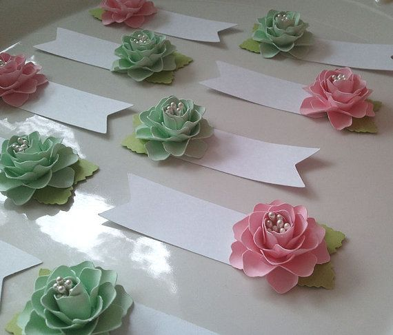These handmade paper flower place cards escort cards would look so these handmade paper flower place cards escort cards would look so pretty on your tables at your next event these can be customized in mightylinksfo