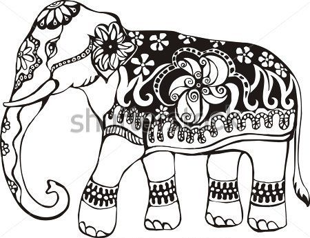 indian elephant design coloring pages archivo de origen de orden eps - Coloring Page Elephant Design