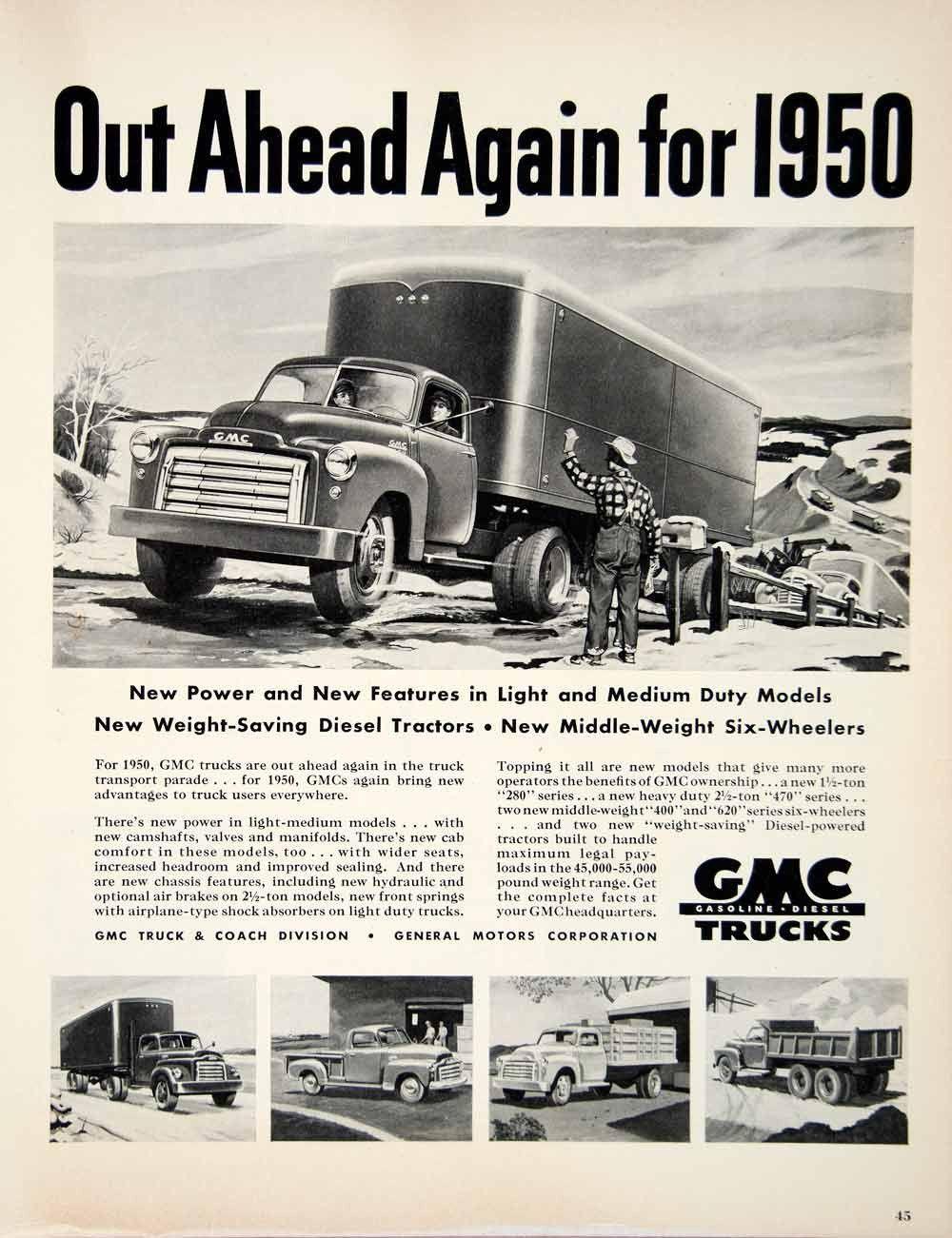1950 Ad Gmc Truck Diesel Engine Transport Auto Coach Tractor General Motors Yft5 Gmc Truck Trucks Vintage Trucks
