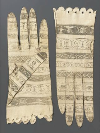Pair of women's printed kid gloves 1790-1810 MFA