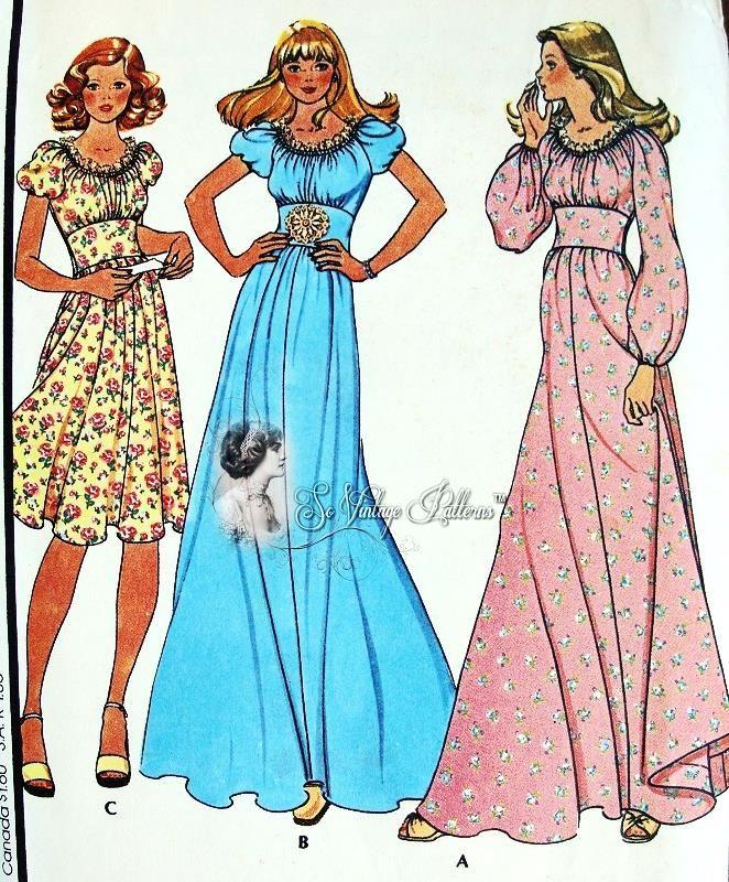 1970s Dress Pattern 3 Styles, Maxi Peasant Midriff Bohemian Dress ...