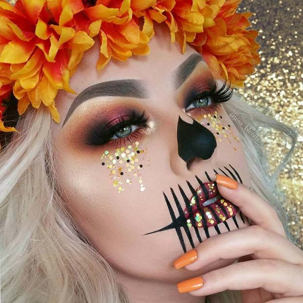 23 Make-up-Ideen für das Skelett für Halloween #make-upideen
