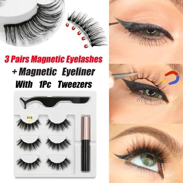 3 Pairs Magnetic Eyelashes with 1Pc Magnetic Liquid Eyeliner with 1Pc Tweezers Waterproof Long Last