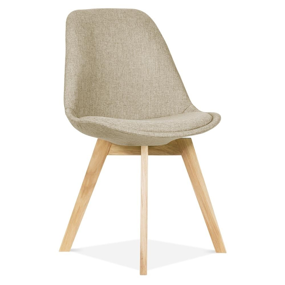 Meet Our Beige Upholstered Eames Inspired Chair With Crossed Wood Legs U0026  Add A Comfortable Modern Touch To Your Interior.