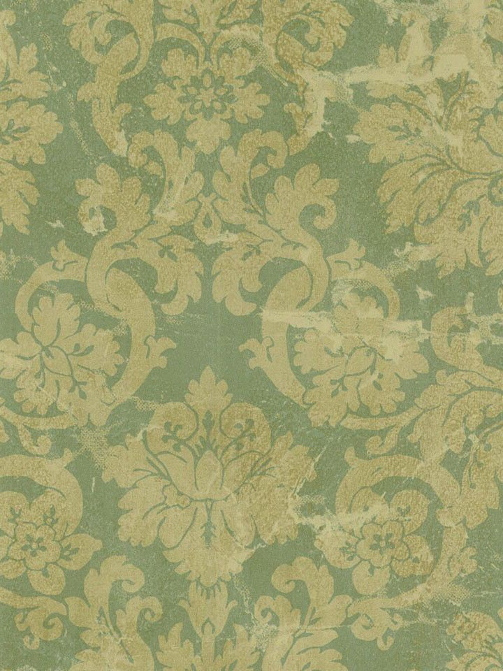 Beacon House Sage And Gold Aged Damask Wallpaper BeaconHouse