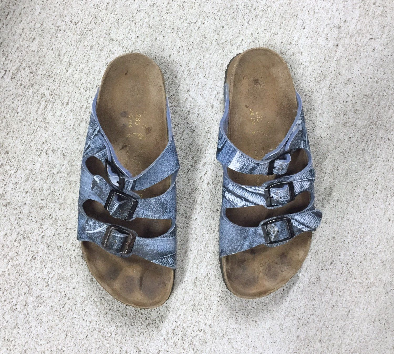 Womens sandals etsy - Birkenstock 41 Denim Print Birkenstock Sandals Mens Size 8 Womens Size 10 By Dustyrosevintage