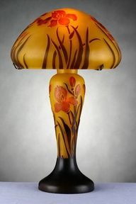 Emile Galle Large Cameo Glass Lamp Wild Roses Nov 10 2018