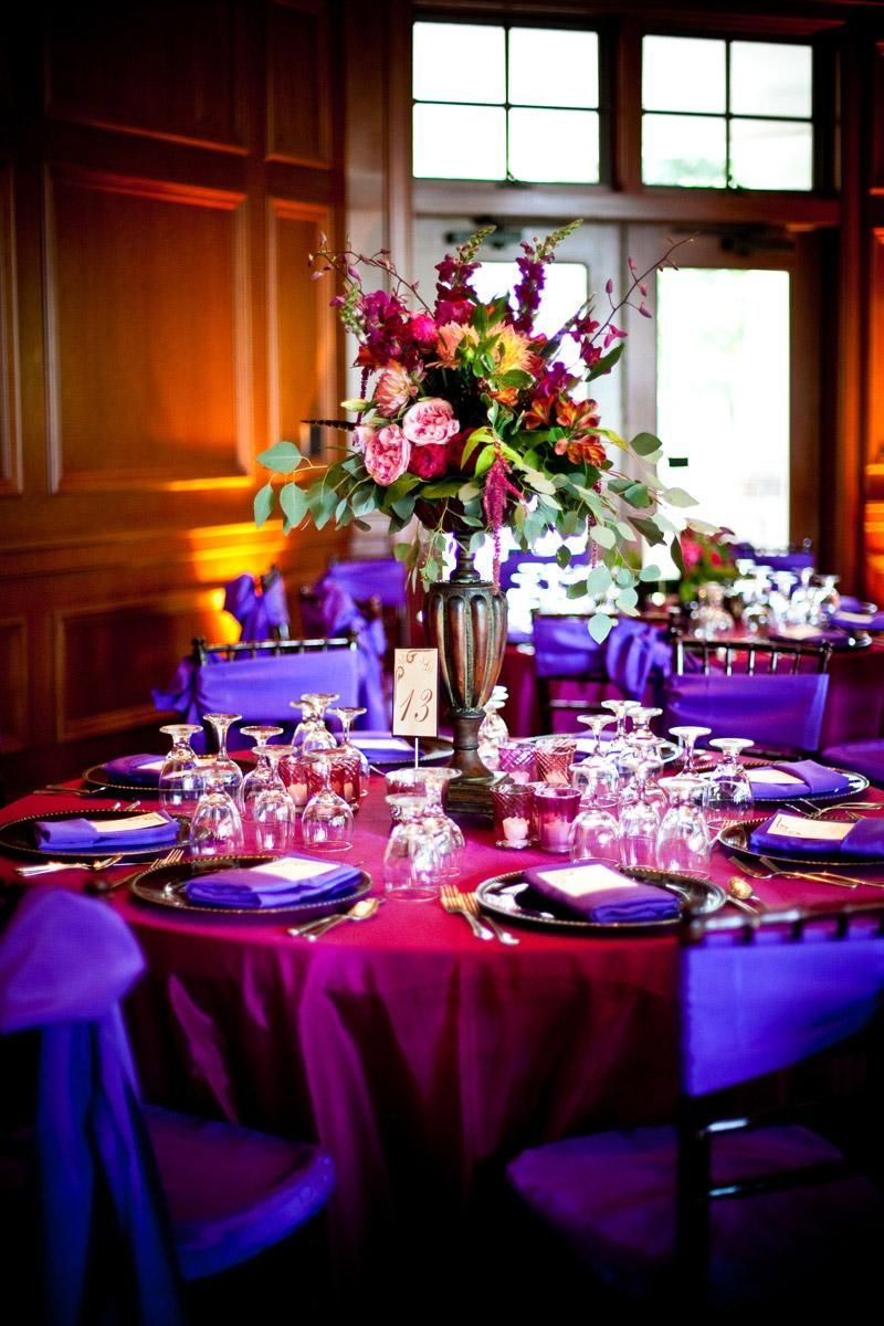 Decor Centerpieces Purple Hot Pink Chair Sashes Tablecloth Napkins Floral Centerpiece Orange Wedding