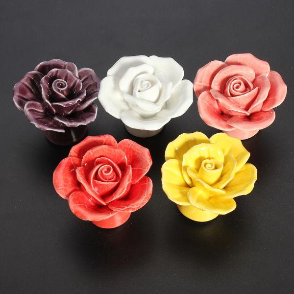 Ceramic Rose Flower Door Knobs Pull Handle | Home & Garden ...