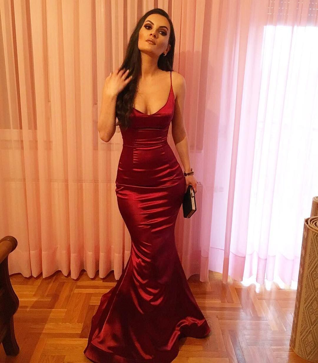Charming prom dress sexy spaghetti straps prom dresslong mermaid