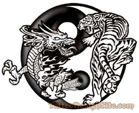 Famous Dragon Tiger Tattoo Design Tattoos Yin Yang Tattoos