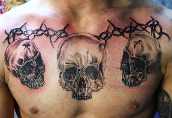 147 Cool Skull Tattoos Not Only For Boys 4 Black And White Look From The Hood It S Ok To Go For Classi In 2020 Skull Tattoos Chest Tattoo Men Chest Tattoos For Women