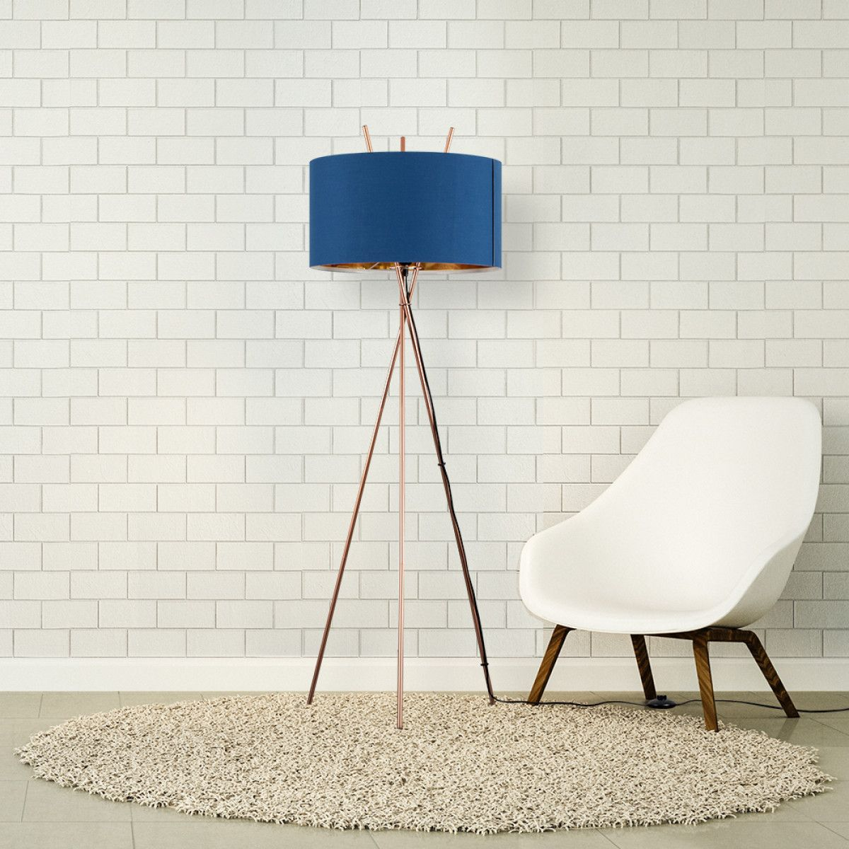 Crawford Tripod Floor Lamp Copper With Navy Blue Shade Copper