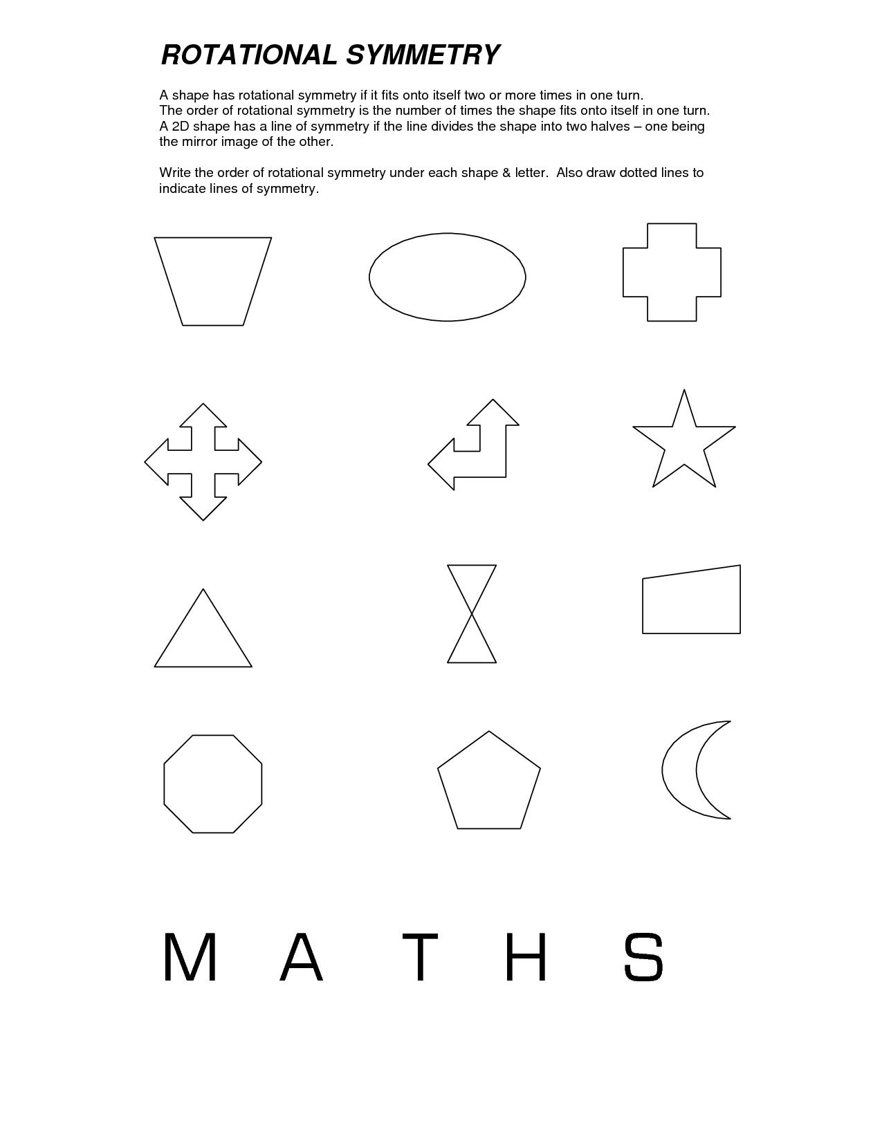 Rotational Symmetry Worksheets   Symmetry worksheets [ 1650 x 1275 Pixel ]