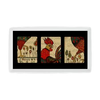 Rooster Design Cocktail Platter featuring original art from Natalie Timmons' Rooster Country collection.
