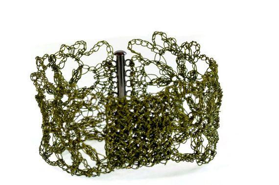 Hand Crochet Wire Olive Flower Bow Cuff Bracelet by PrayerMonkey, $35.00