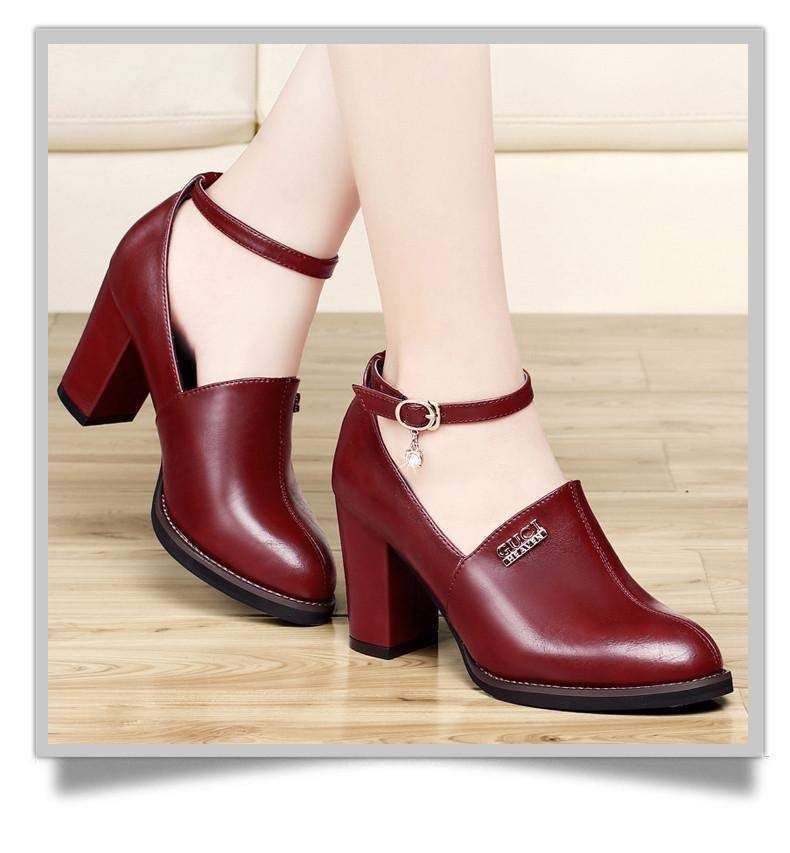 Women Brand Shoes, High Heel Pumps, Black, Maroon Color
