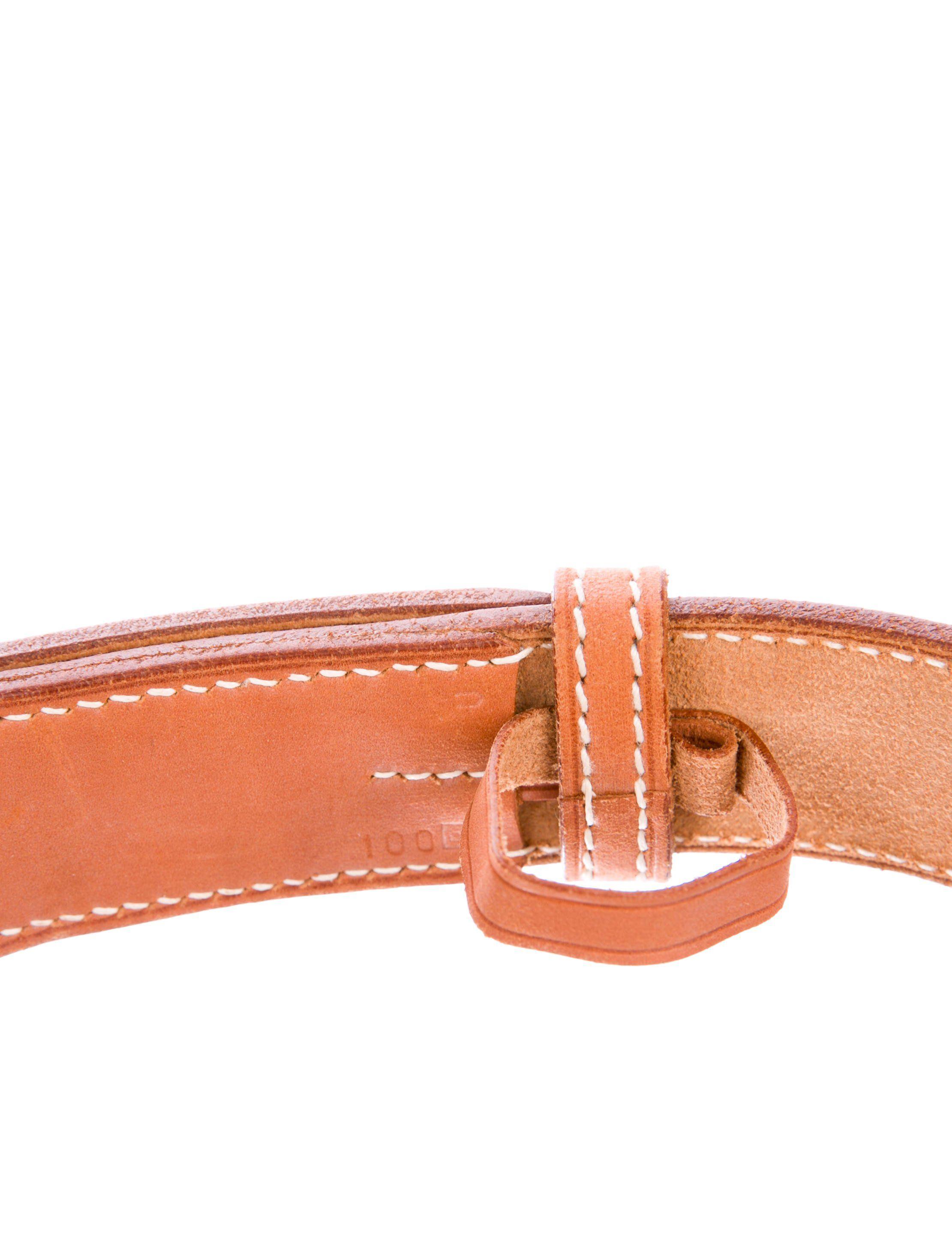df79024de79e Men s tan Barenia leather Hermès Etriviere belt with palladium-plated  buckle closure. Designer size 100. Blind stamped Square B from 1998.