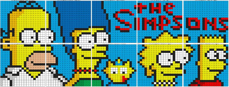 The Simpsons Mural Color By Number Coloring Squared Math Concepts Addition And Subtraction Mural