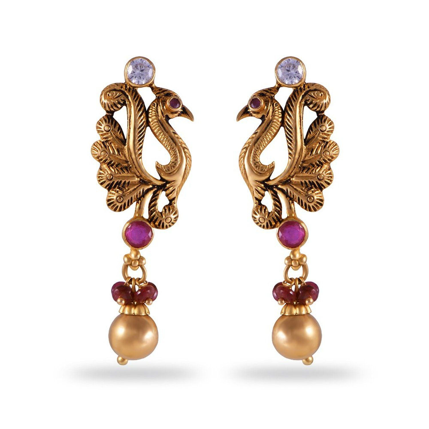 3e31db33b Buy Joyalukkas Apoorva Collection 22k Oxidized Gold Drop Earrings Online at  Low Prices in India | Amazon Jewellery Store - Amazon.in