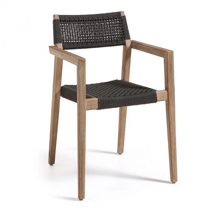 Chaise avec accoudoir. Structure en acacia massif. Traitement Nano ...
