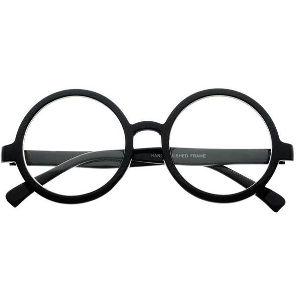 027cb05dd0 Large Retro Style Thick Framed Clear Lens Circle Round Eye Glasses r68  ( 19) ❤ liked on Polyvore featuring accessories