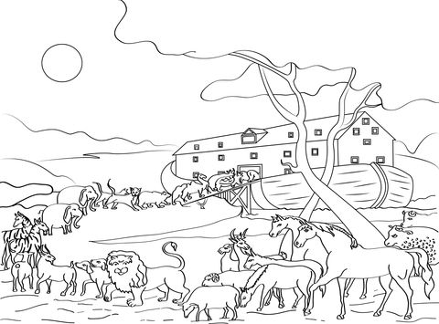 Animals Loading Noah 39 S Ark Coloring Page From Misc Artists