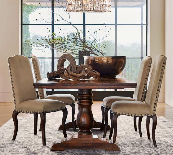 Bowry Reclaimed Wood Fixed Dining Table #potterybarn
