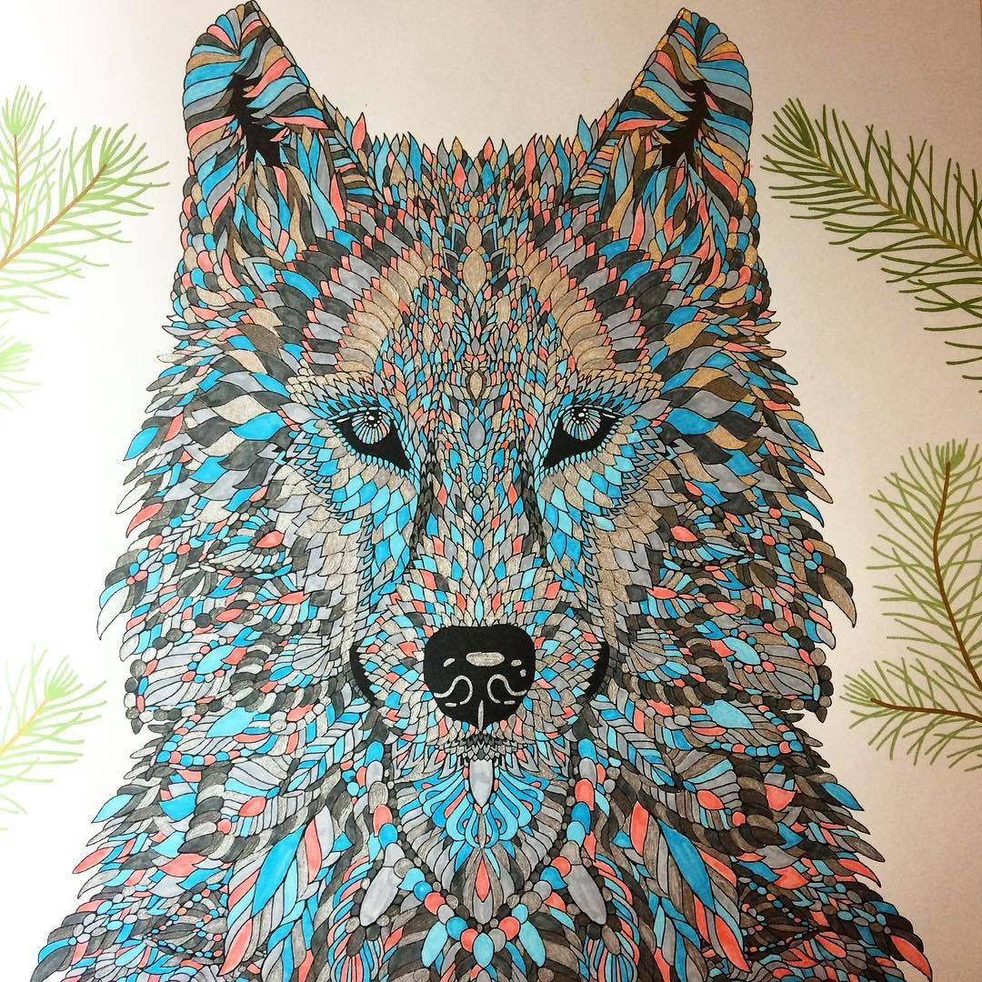 Dissertation de-stress #adultcolouring #themenagerie #wolf ...