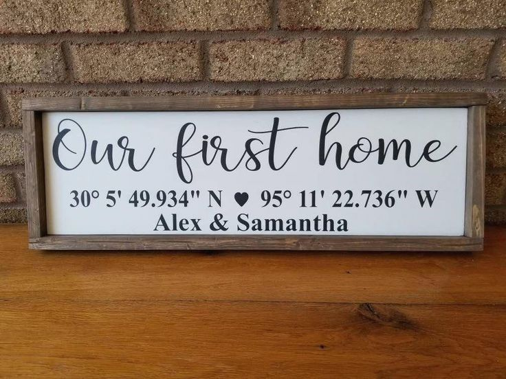 Coordinates Wood Sign Our First Home Sign Latitude Longitude   Etsy