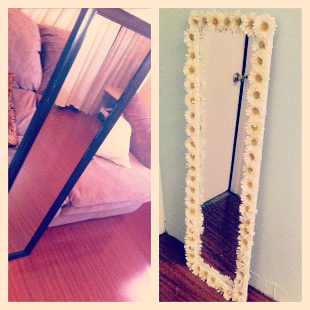 I love the idea of decorating the frame of a mirror. Id like to do this but use twine around the edge.