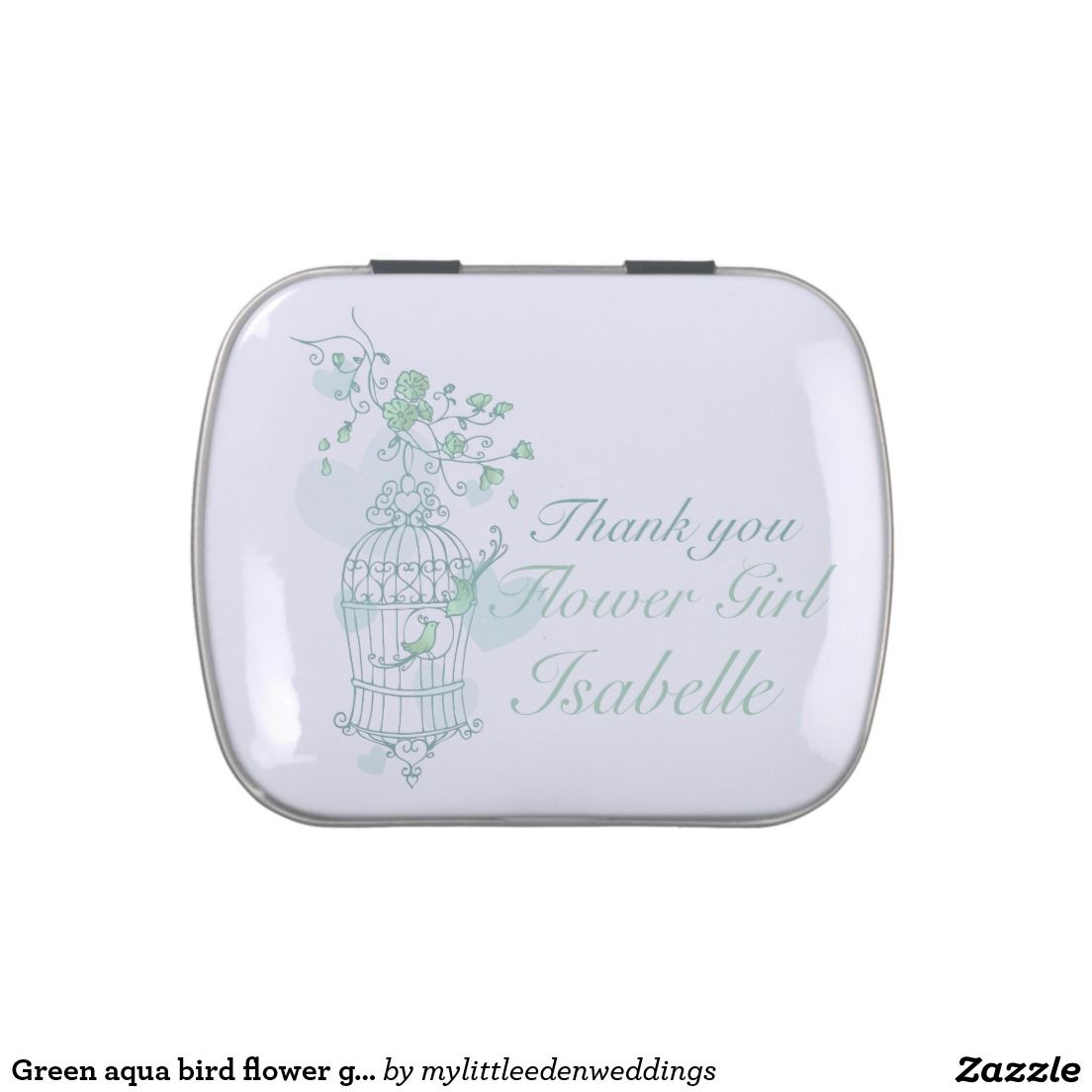 Green aqua bird flower girl wedding favor candy jelly belly tins ...