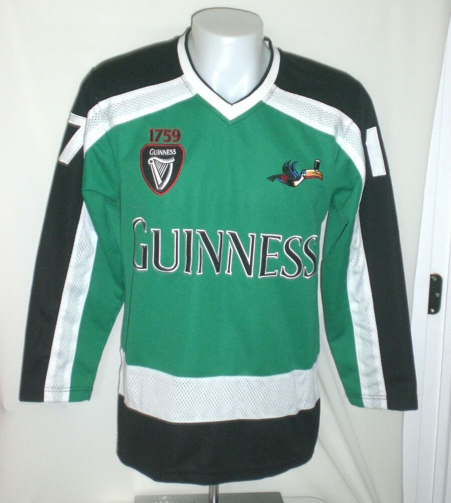 15c4adaf4 Guinness Beer Authentic Hockey Jersey Mens LARGE Toucan Black 1759 St  Patricks #Guinness