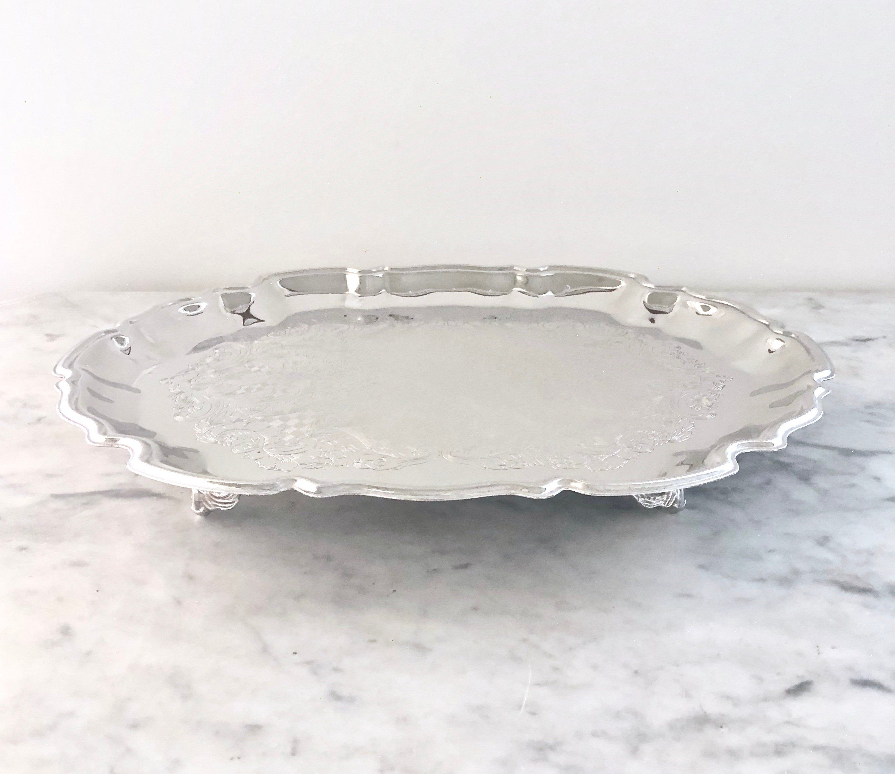 Silver Vanity Tray Footed Serving Tray Dressing Table Tray Dresser Tray Shabby Chic Decor Silver Vanity Dressing Table Tray French Country Decorating