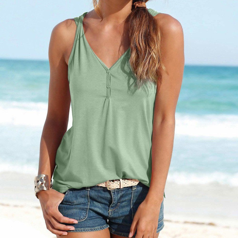 1abd36156f3c3 HGWXX7 Womens Summer Casual Solid VNeck Sleeveless Button Vest Blouse Tank  Tops S Army Green -- You can find more details by visiting the image link.