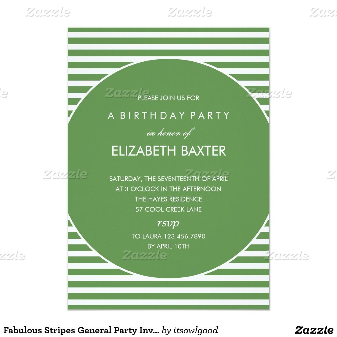 Fabulous Stripes General Party Invitation (Green) | Party invitations