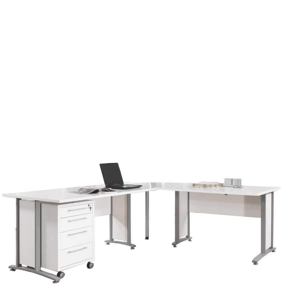 Bürosystem Prima Winkelschreibtisch 80400-304 Weiß Silber Jetzt ...