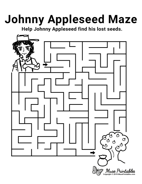 Free printable Johnny Appleseed maze. Download the maze ...