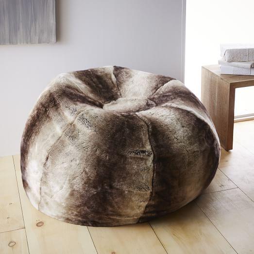 8d35e5ae34e Faux Fur Ombre Bean Bag - Mocha   west elm   For the home   Retro ...