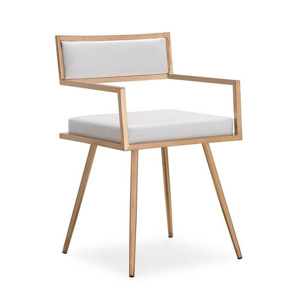 Marquee White Croc / Rose Gold Arm Chair (set of 2) | Leather ...