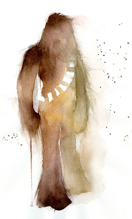 Chewbacca Watercolor Painting Star Wars Illustration Star Wars