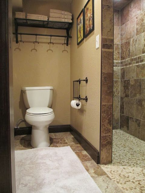 Walk in shower in the basement bathroom great for kids for Walk in basement