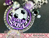 SOCCER COACH Keychain Personalized Name Keychain Sport Theme-with Soccer Rocks Charm (Can Design any theme), Coach Gift, Soccer Coach