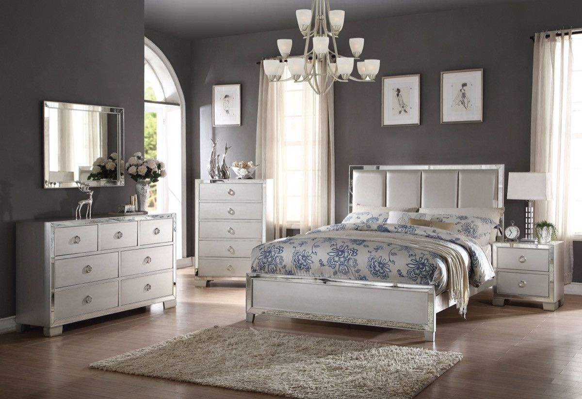 ACME Voeville II California King Bed  Padded HB  Matte Gold PU   Platinum. ACME Voeville II California King Bed  Padded HB  Matte Gold PU