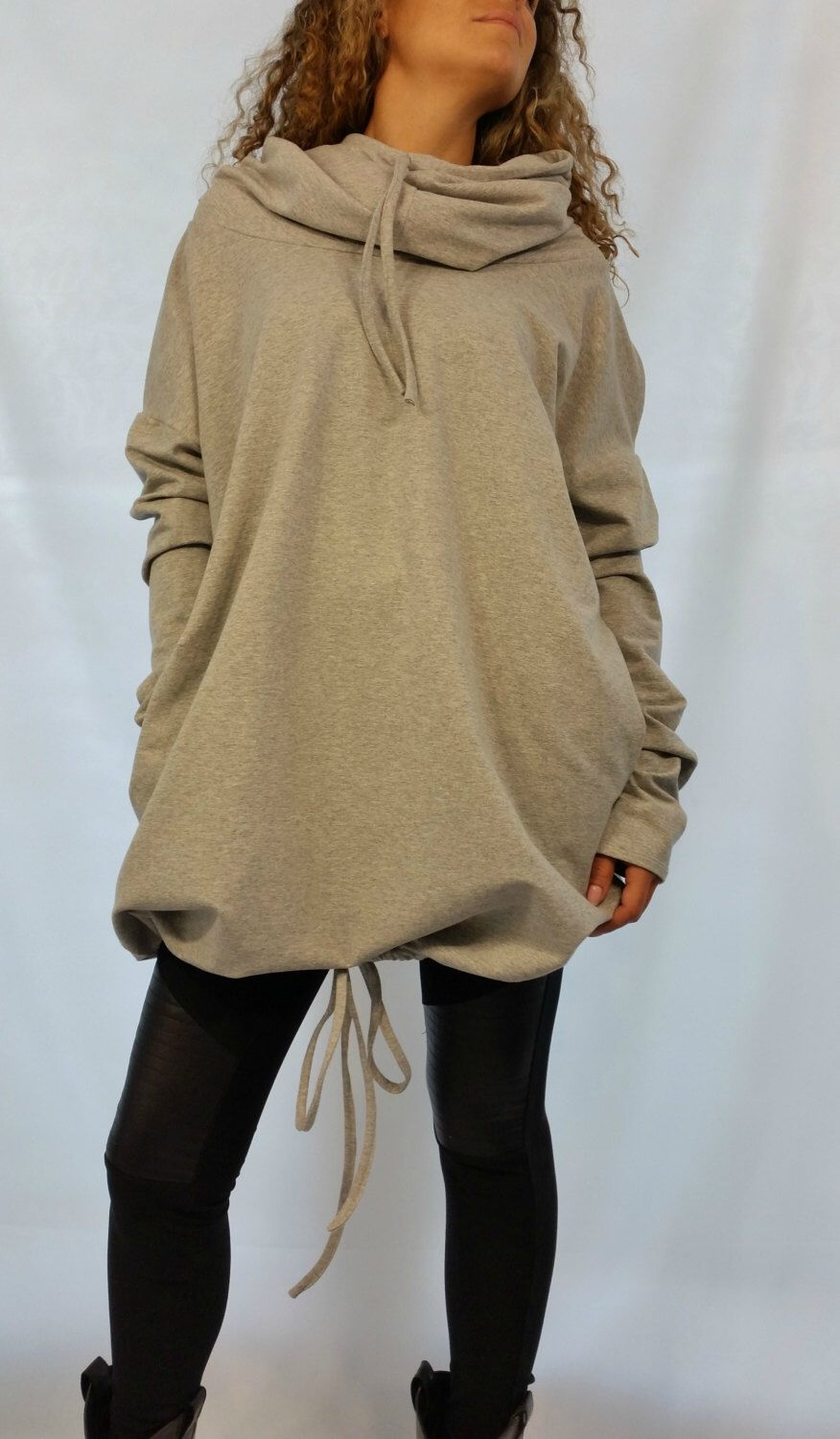 Oversize Loose Hooded Cape Top Long Sleeves Women Tunic Maxi ...