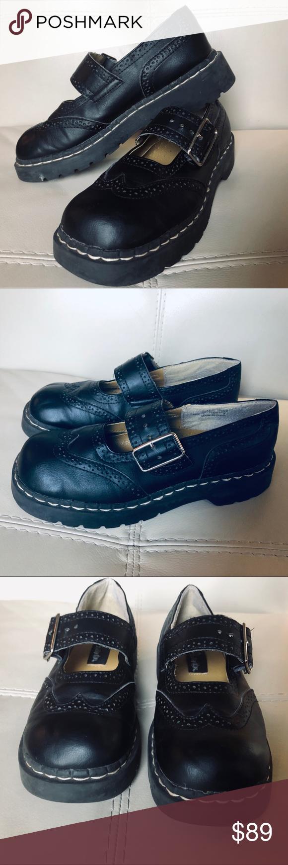Vtg Tuk Goth Anarchic Black Maryjane Chunky Shoes Chunky Shoes Moto Boots Shoes