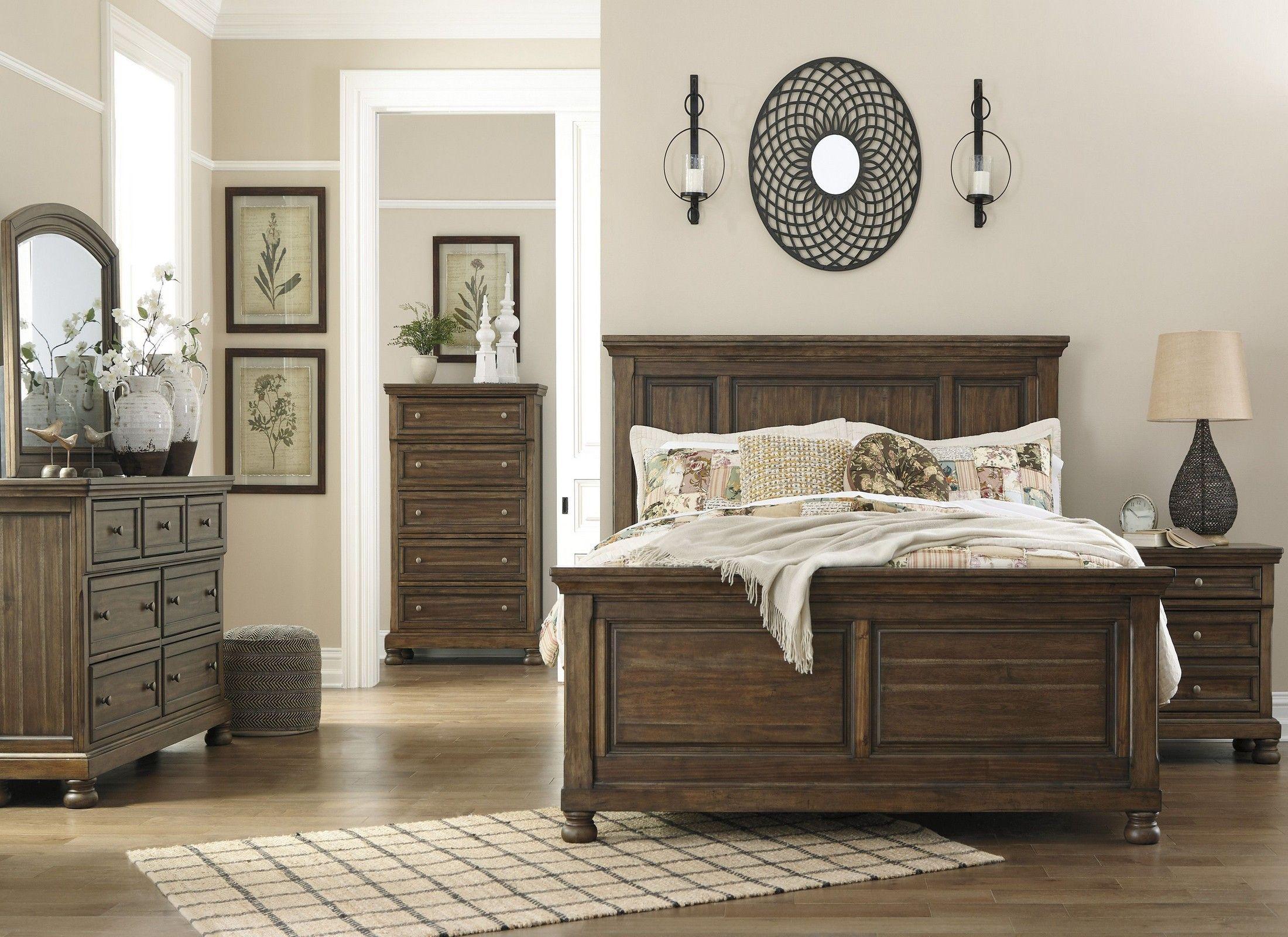 Flynnter Medium Brown Panel Bedroom Set Wood bedroom