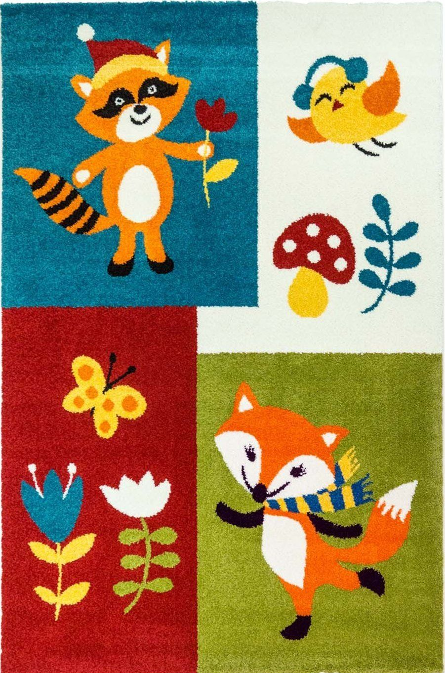 Kids Fox Design Area Rug Pattern Nursery Multicolor La Dole