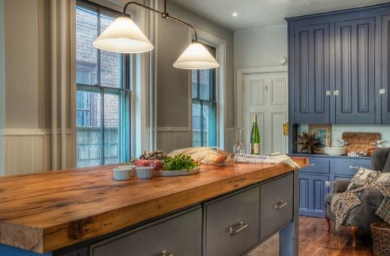 Salvage Wood Countertop. But With White Cabinets