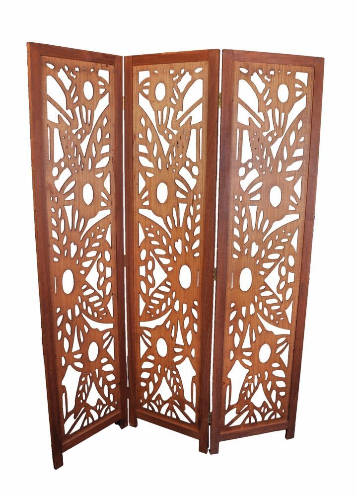 3 Panel Solid Wood Screen Room Divider Blinds Shades: Details About 3 Panel Wood Screen Room Divider, Walnut